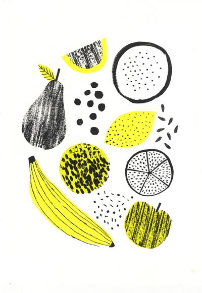 Food illustrations, could be products, packing list, etc.: