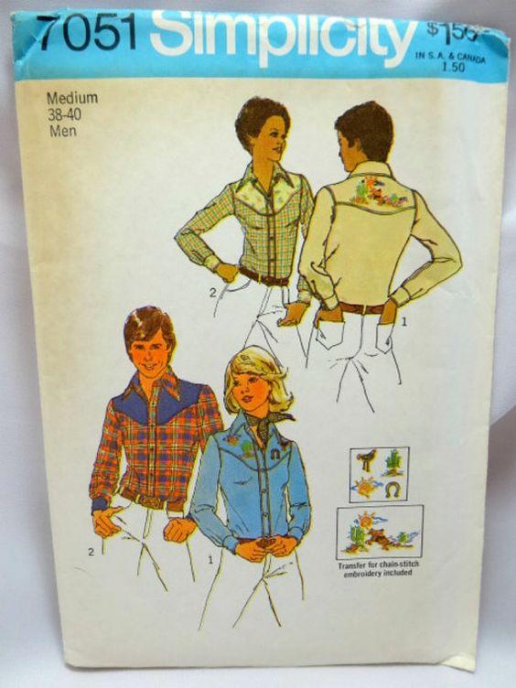 Simplicity 7051 Men's Shirt Western Wear Size by Allyssecondattic
