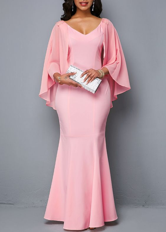 Cape Sleeve Pink V Neck Mermaid Dress | Rosewe.com - USD $34.45
