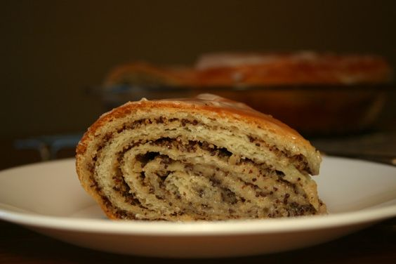 Slice of Poppy Seed-Walnut Potica (Povitica/Nut Roll/Coffee Cake)