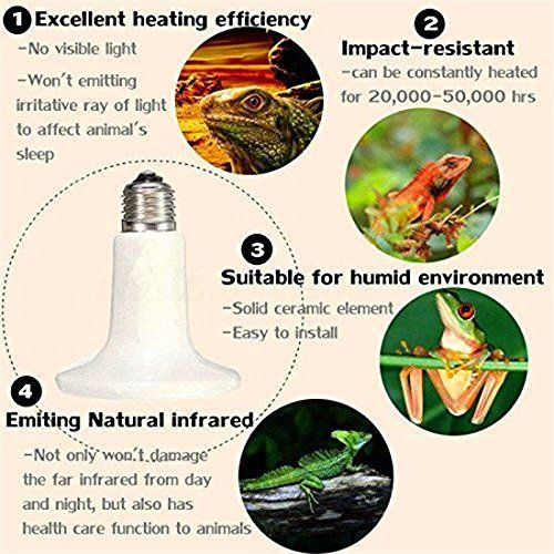 Eatingbiting R C C E27 Socket 150w 110v Ceramic Infrared Heat Emitter Brooder Coop Pet Infrared Lamp Bulb 20 000 Hours Non Stop Visible Light Reptiles Infrared