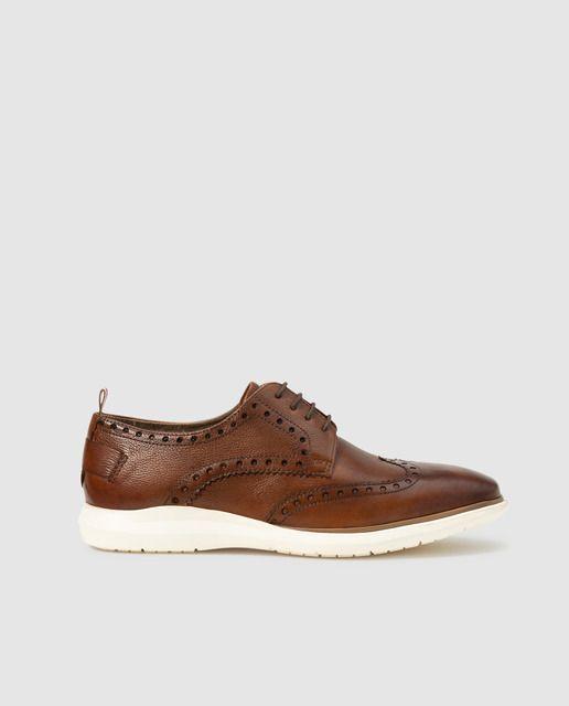 Zapatos de cordones de hombre Fórmula Joven de piel en color