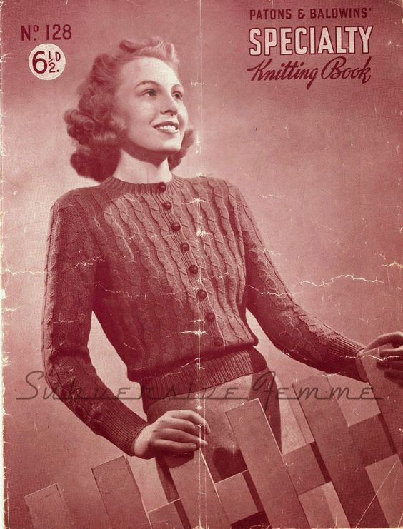 The Vintage Pattern Files: Free 1940's Knitting Pattern - Aileen, A Jumper-Cardigan
