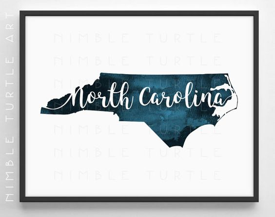 North Carolina State Outline Watercolor in Teal Blue - Instant Download