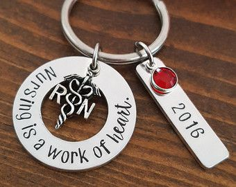University Nurse Pin For Pinning Ceremony - great as Nursing Graduation Gift For Nursing Student! This RN pin includes a round discs personalized with text of your choice.  ♥ 1 1/8 round disc with University (heart stamp) Name, RN and nurse graduation year. Personalize however you wish (35 -40 character max) ♥ Antique Silver Caduceus RN charm ♥ Tie Tack Pin with Clutch Back Closure ♥ Lightly brushed and polished for a shiny-satin finish. ♥ Organza Gift Bag ♥ Gift Box and Personalized Note…