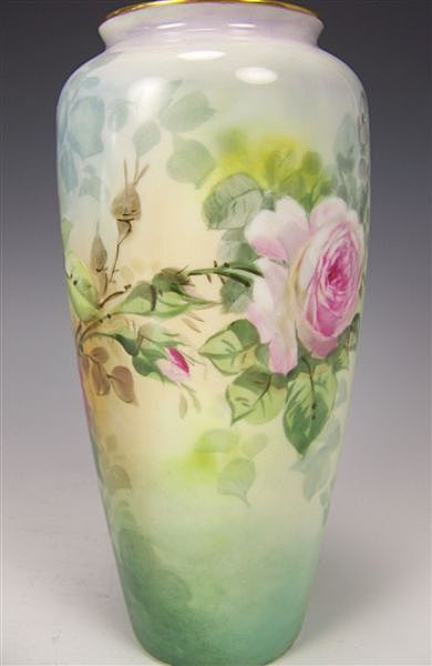 Beautiful Antique Porcelain Vase Hand Painted Victorian Roses Philip Rosenthal  Co. Bavaria circa 1900