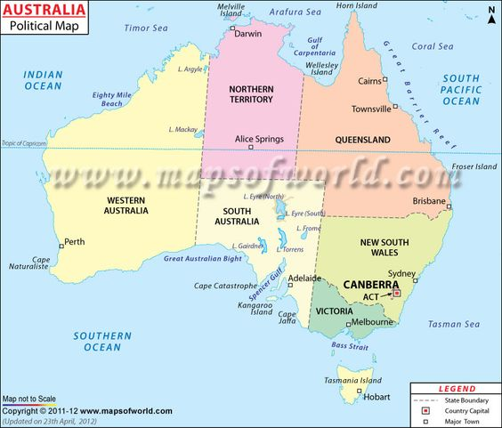 Map of Australia shows international boundary state boundaries – Australia Map with States and Capital Cities