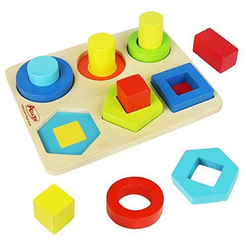 Symiu Juguetes De Madera Bloques Figuras Geometricas Rompecabezas Ninos Montessori Juguetes Tablero Para Apilar Y Clasificar Para N Puzzles Montessori Coasters