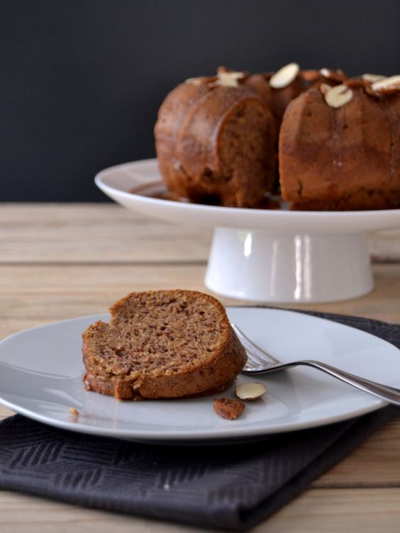 Banana Cake with Almond Butter Glaze (use GF Flour Mix)