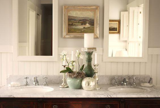 wainscotting: Nice Bathroom, Gray Bathrooms, Antique Bathroom Vanities, Beautiful Bathroom, Bathroom Decor, Oil Painting, Dream Bathroom, Master Bathroom, Bathroom Details
