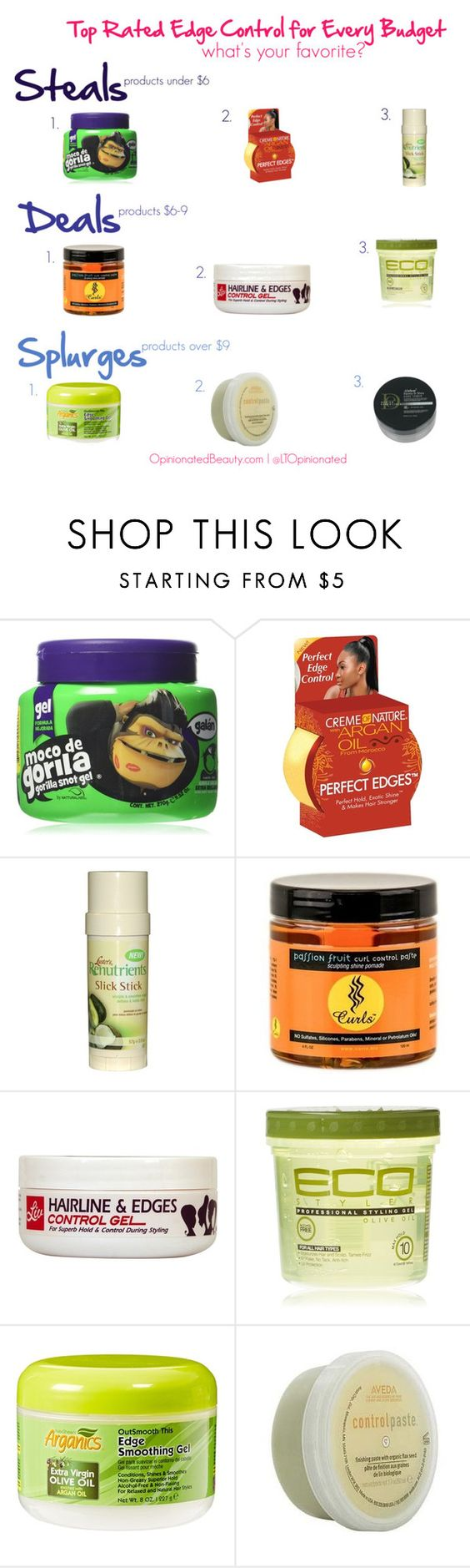 """Top rated edge control products for every budget"" by ltopinionated on Polyvore featuring beauty and Creme of Nature"