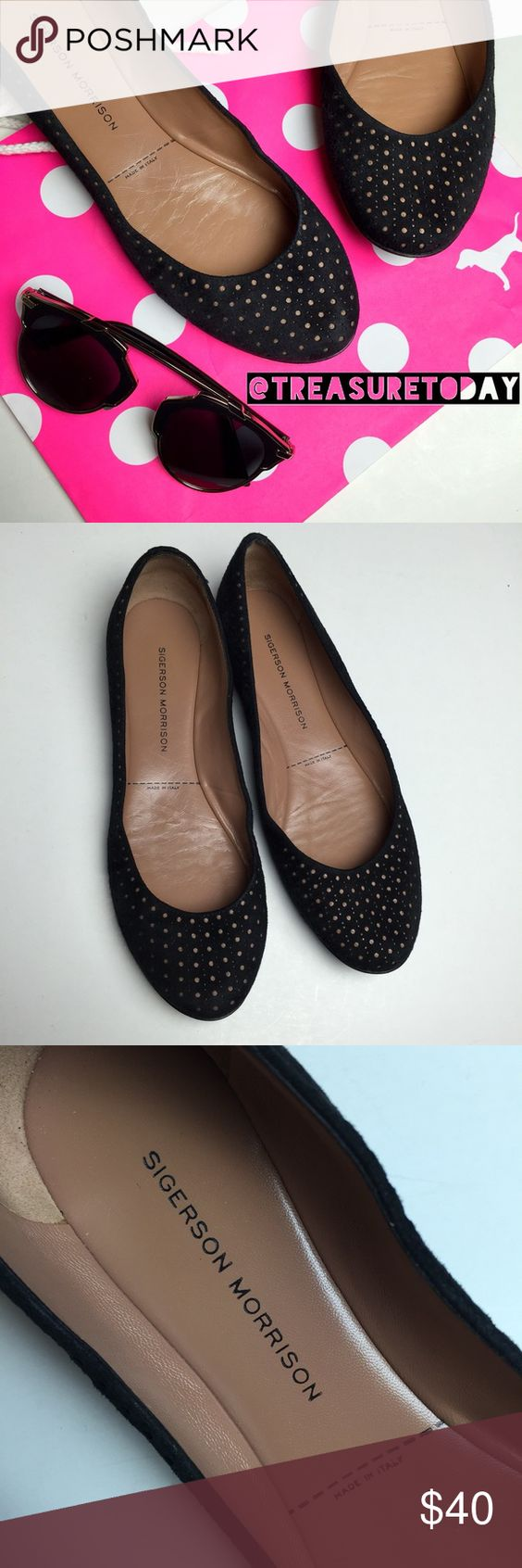 Sigerson Morrison Perforated Suede Leather Flats Gently used, great condition and lots of life left. Upper suede, leather insole and leather bottom sole - high quality & durable. Feel free to ask any question, I'm here to help! 🎉Offers welcome 🎉 Bundle 2 or more items and get %10 off instantly💕 all pictures are taken by me. Sigerson Morrison Shoes Flats & Loafers