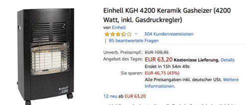 Einhell Kgh 4200 Keramik Gasheizer Inkl Gasdruckregler Keramik Haus Und Garten Und Drucken