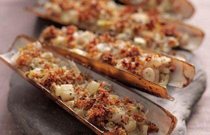 Grilled razor clams with chilli, fennel and thyme - Adam Byatt