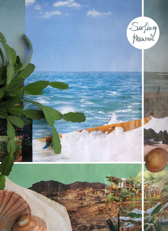 Thinking about Surfing Hawaii: A visualisation of Surfing Hawaii in a moodboard