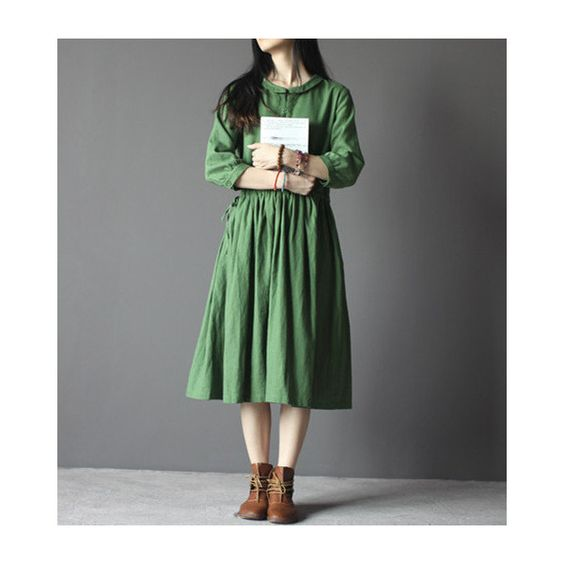 Retro Green Cotton Linen Blend Dress-3/4 Sleeve Dress-Loose... ($46) ❤ liked on Polyvore featuring tops, black, dresses, women's clothing, loose fitting tops, black top, black loose top, black three quarter sleeve top and green top