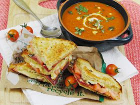 Curly Girl Kitchen: Raspberry Sauce on Mini Cheesecakes and Ice Cream, and Homemade Tomato Basil Soup with Grilled Cheese, Tomato and Turkey Bacon Sandwiches
