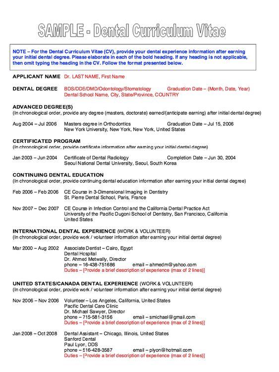 Dental Resume CV -    resumesdesign dental-resume-cv - resume dental assistant