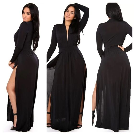 Image of Two split long sleeve maxi dress