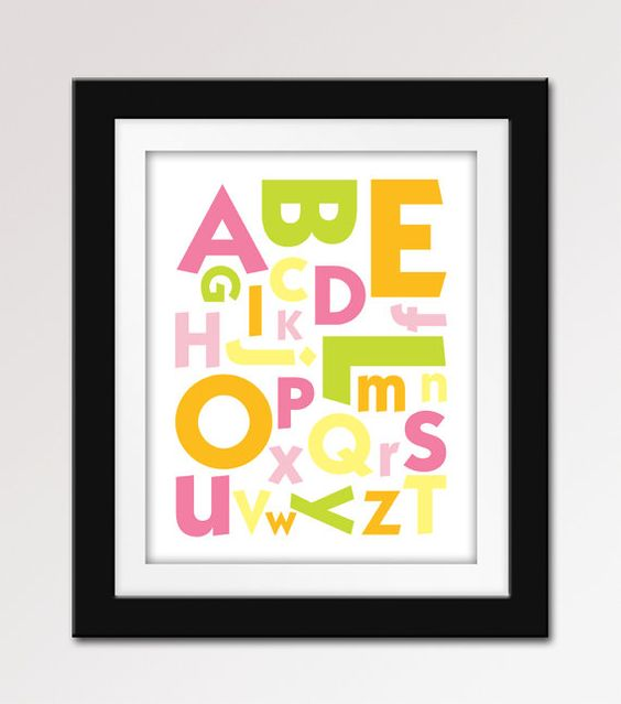 Alphabet abc print abc nursery art 8x10 nursery print for Chambre 8x10
