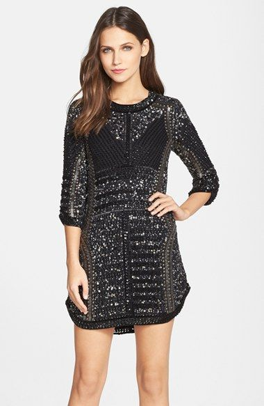 Free shipping and returns on Parker 'Petra' Beaded Shift Dress at Nordstrom.com. Glittering embellishments bathe a stunning cocktail dress with eye-catching sparkle. Curved cuffs at the end of three-quarter sleeves mimic the chic shirttail hem.: