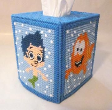 Bubble Guppies tissue box cover in plastic canvas. All eight characters, baby, puppy included.