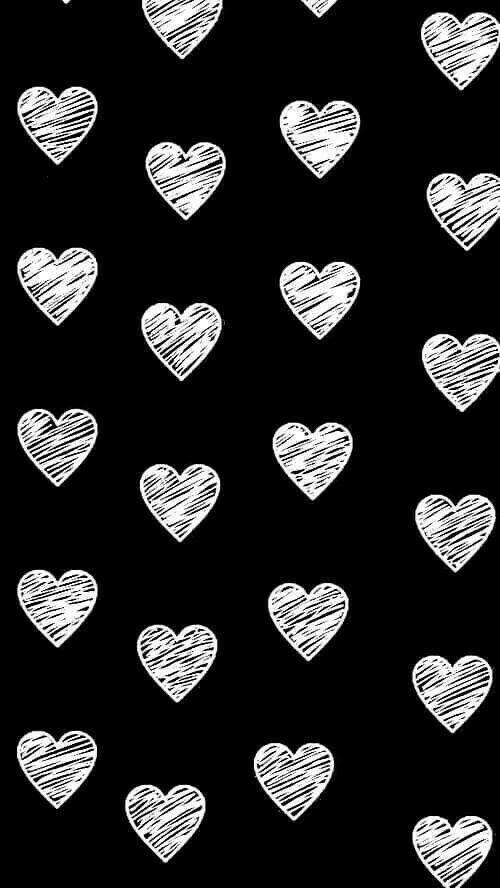 Lovehearts Cute Black Wallpaper Heart Wallpaper Black And White Heart