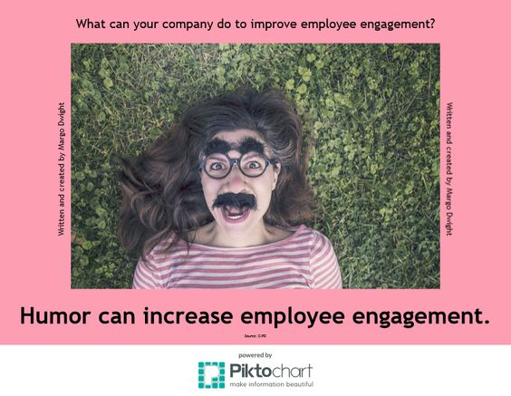Take a look at the infographic I wrote and created. Yes, she's wearing a mask! It's funny, right? Humor can increase employee engagement. Why should you care about employee engagement? Because internal communications is the NEW corporate communications. - Margo Dwight, Internal, Corporate and Marketing Communications Consultant: My experience. Your results.
