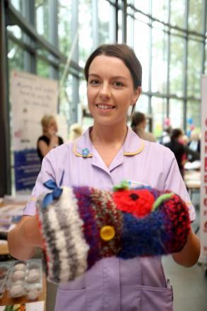 Bradford Teaching Hospital's dementia champion Lydia Ward with a twiddlemuff.