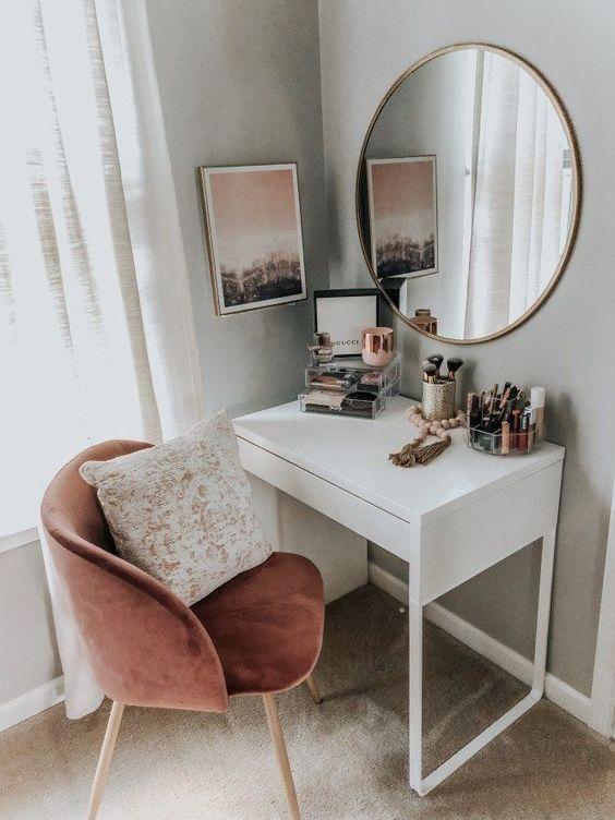 Dressing Table Makeup Home Decoration Small Room Mirror Stool Bedroom Cloakroom Bathroom Diy Home Desi Stylish Bedroom Home Bedroom Minimalist Bedroom