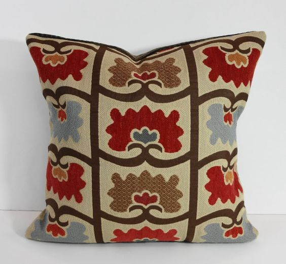 Decorative Chenille Throw Pillow Cover, Brown, Red, Cushion, 16 x 16