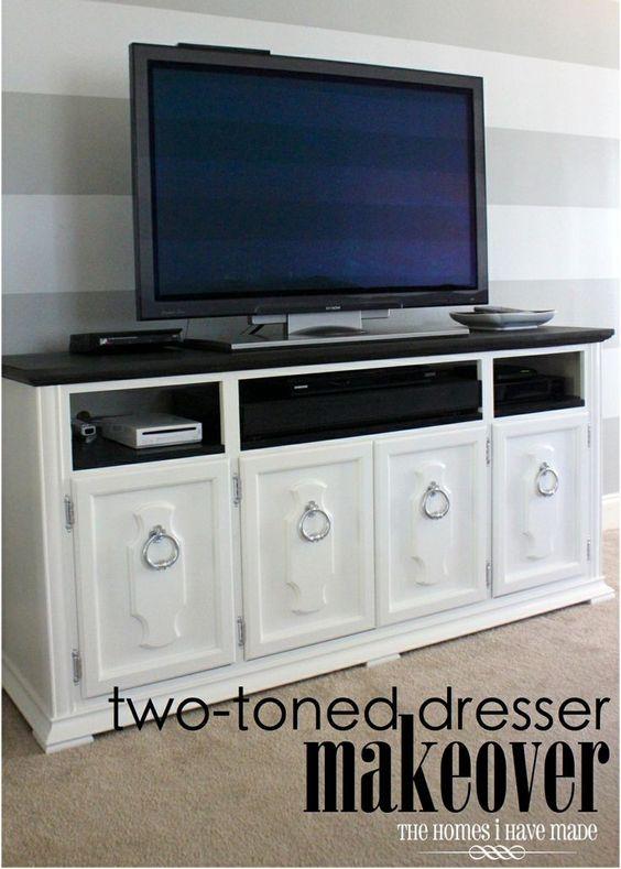 dresser to media stand - two-toned dresser makeover