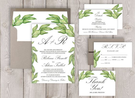 Garden Wedding Invitation Suite Botanical Wedding Invitation Printable or Printed