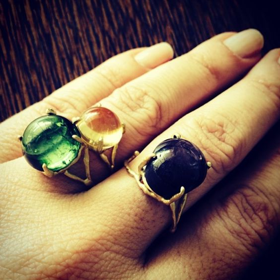 Branches Rings - green tourmaline / Citrine / Ruby Star yellow gold 18k / Anéis Galhos Turmalina Verde (peça única), Citrino e Rubi Star (peça única) #fabimalavazi