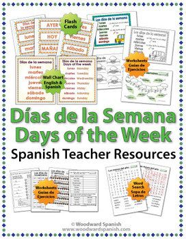 Days of the Week in Spanish - Worksheets, Wall Charts and Flash ...