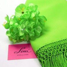Conjunto de Adelfas y mantoncillo de color verde Pistacho