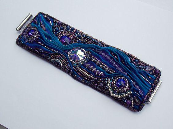 bead embroidery with shibori ribbon | Bead embroidered bracelet with shibori ribbon – by Vicus