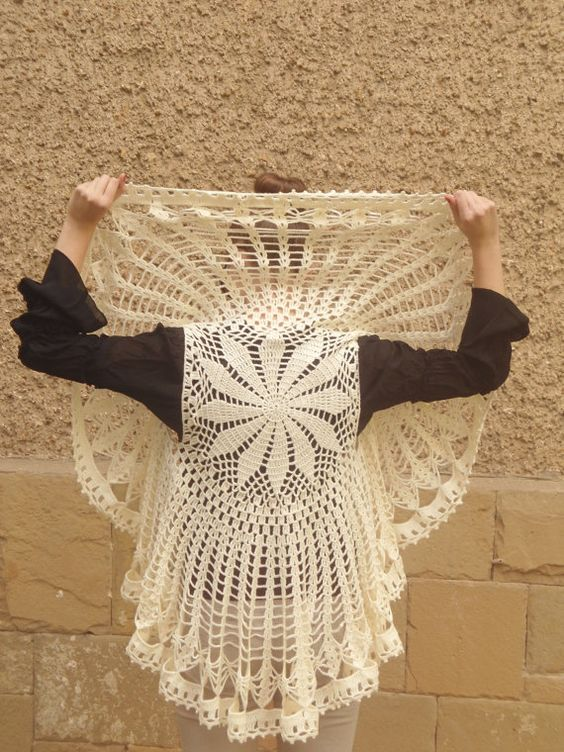 Circle Sweater: Crochet Bolero Champagne Circle Flower Mandala Cardigan
