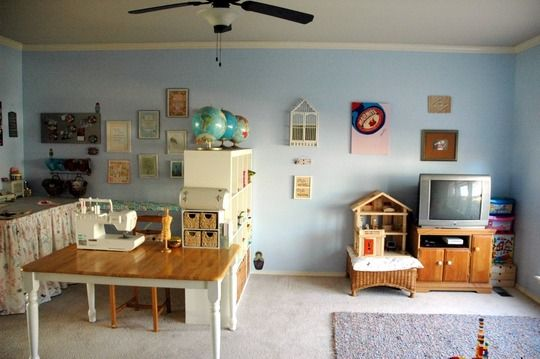 divided space...playroom...mom's craft room