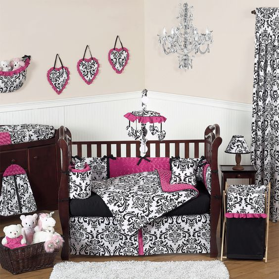 white with skulls isabella hot pink black and white baby crib bedding