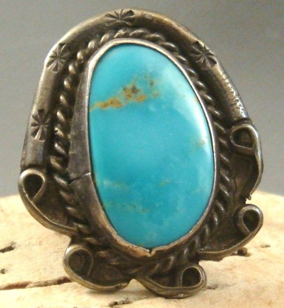 Sleeping Beauty Turquoise set on a Vintage 1950's Navajo silver ring