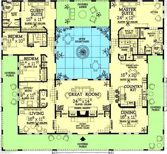 Plan W81384w Southwest Florida Spanish Mediterranean House Plans Home Designs In 2020 Courtyard House Plans Dream House Plans Spanish Style Homes