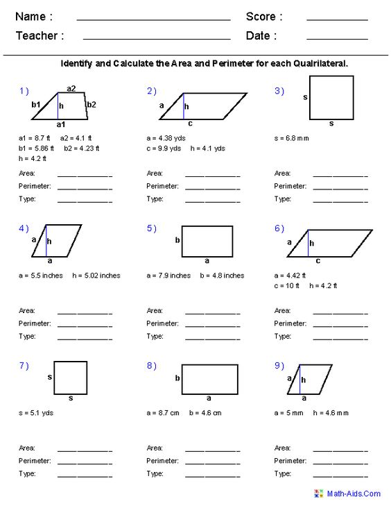 Area And Perimeter Area And Perimeter Worksheets And