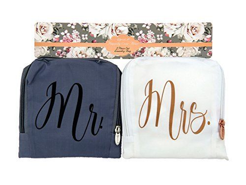 Miamica Mr And Mrs Bridal Travel Laundry Bag Gray And White