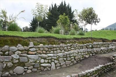 Archeological complex in Northern Quito made of stone and ancient arquitecture