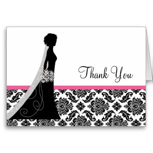 Damask Bridal Shower Thank you Notes Bride Greeting Card