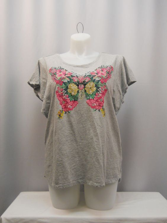 Style & Co Gray Jeweled Floral Batwing Sleeves Asymmetrical Top Plus Size 1X  #Styleco #Blouse #Clubwear