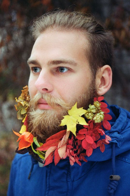 by awesome Victoria Vrublevska www.vvrublevska.com #beard #bearded #guy #moustache #flowers #flower #leaves #autumn #fall #nature #urban #photography #concept #conceptual #blonde #blond #moustache #handlebar #scruff