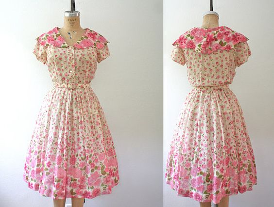 50s vintage dress / Nelly Don dress / Clematis by nocarnations, $103.00