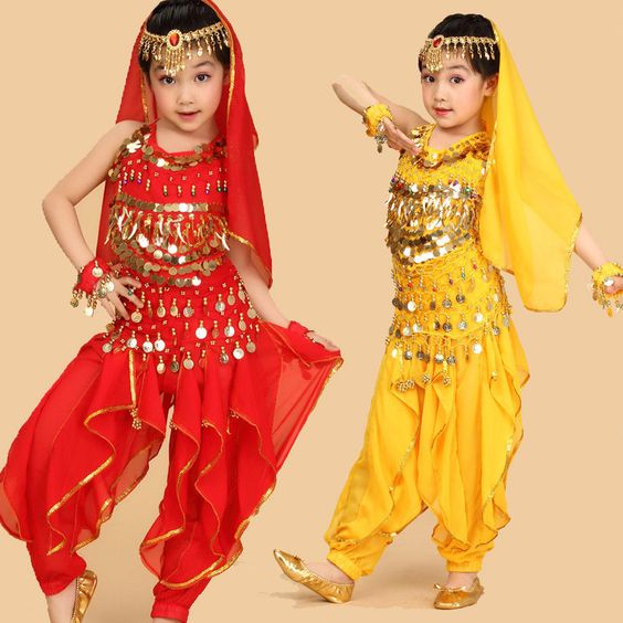 KC0032 Girls Kids Belly Dance Costume Top Pants Bollywood Indian Dance Outfit